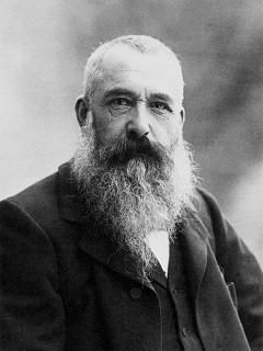 Black and white portrait of French Impressionist, Claude Monet