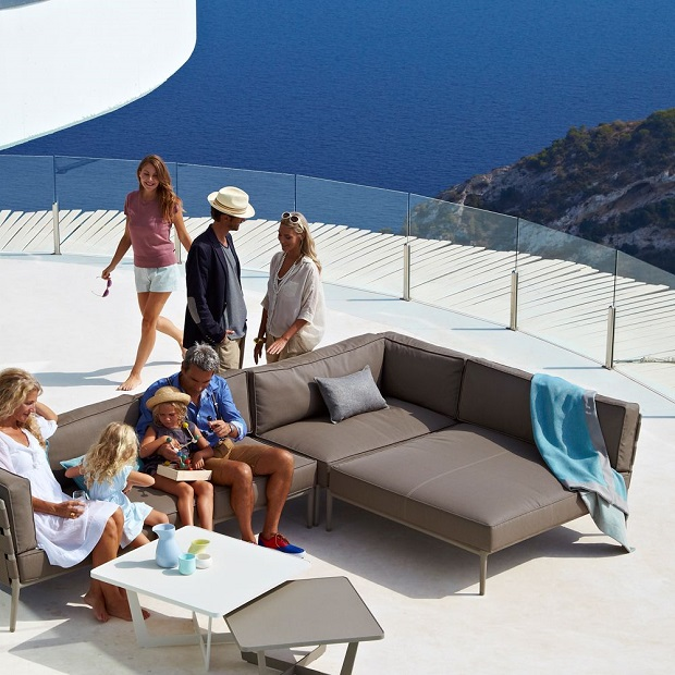Conic daybed module sofa by Cane-Line on a rooftop